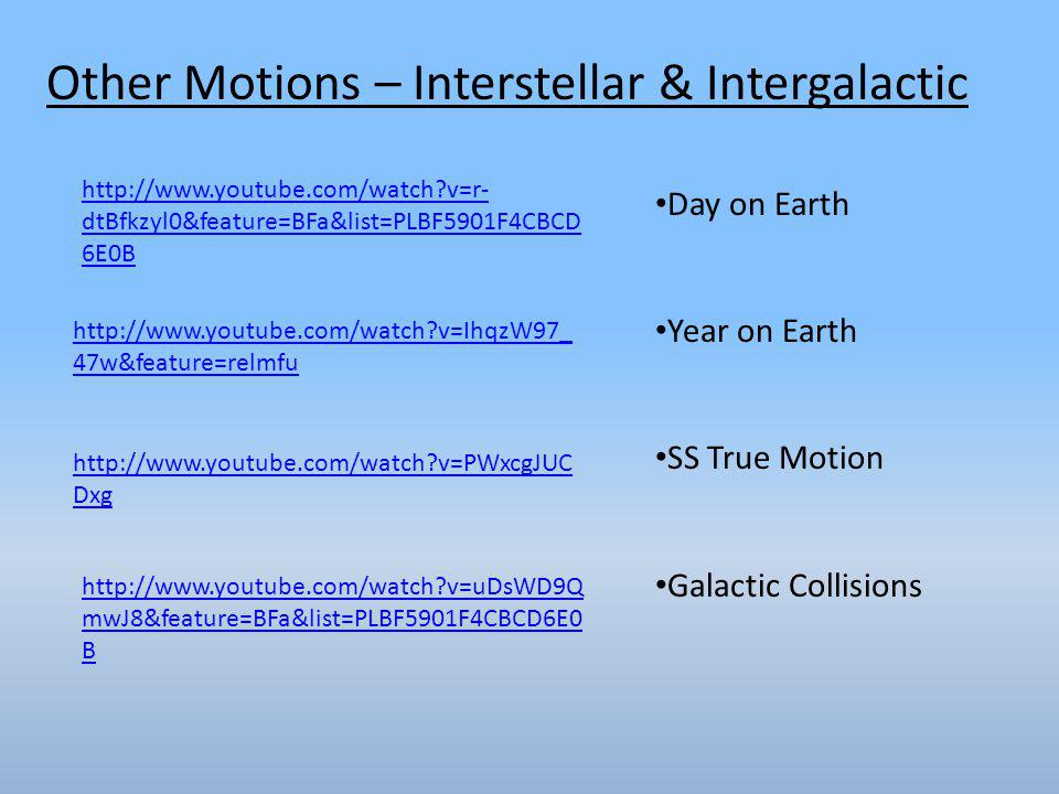 Other Motions – Interstellar & Intergalactic http://www.youtube.com/watch?v=r- dtBfkzyl0&feature=BFa&list=PLBF5901F4CBCD 6E0B http://www.youtube.com/watch?v=IhqzW97_ 47w&feature=relmfu http://www.youtube.com/watch?v=PWxcgJUC Dxg Day on Earth Year on Earth SS True Motion Galactic Collisions http://www.youtube.com/watch?v=uDsWD9Q mwJ8&feature=BFa&list=PLBF5901F4CBCD6E0 B