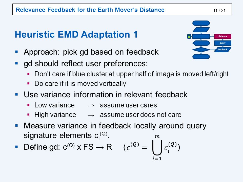Relevance Feedback for the Earth Mover's Distance / 21 Heuristic EMD Adaptation 1  Approach: pick gd based on feedback  gd should reflect user preferences:  Don't care if blue cluster at upper half of image is moved left/right  Do care if it is moved vertically  Use variance information in relevant feedback  Low variance → assume user cares  High variance → assume user does not care  Measure variance in feedback locally around query signature elements c i (Q).