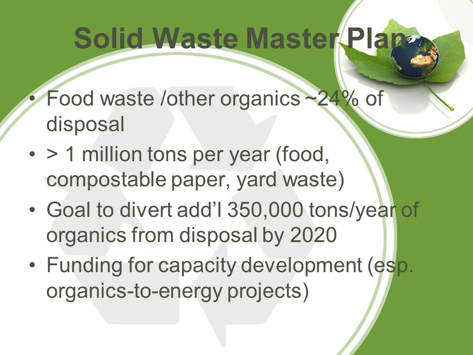 Food waste /other organics ~24% of disposal > 1 million tons per year (food, compostable paper, yard waste) Goal to divert add'l 350,000 tons/year of organics from disposal by 2020 Funding for capacity development (esp.
