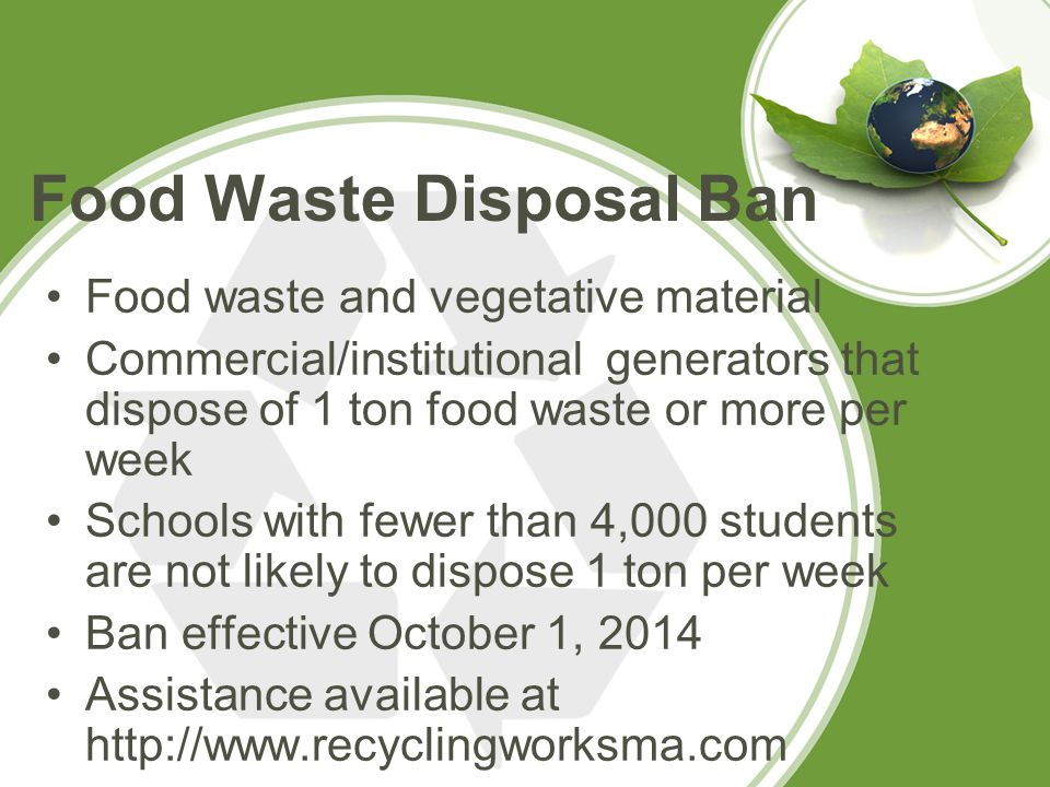 Applicable Regulations 310 CMR 16 - Site Assignment Regulations for Solid Waste Facilities Schools that compost on-site (of anything other than garden/yard waste) are exempt from permitting under the solid waste regulations (310 CMR 16.03(2)(c)2), but must: Notify their local Board of Health and regional office of MassDEP 30 days in advance of starting the program, as a Small Composting Operation not at a Residence. The notification form you may use is on the MassDEP website at http://www.mass.gov/eea/agencies/massdep/service/app rovals/notification-exempt-recycling-and-organics- management.html.