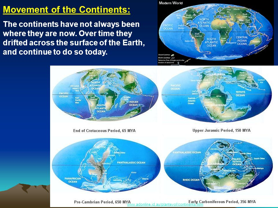 www.adonline.id.au/plantevol/continents.htm Movement of the Continents: The continents have not always been where they are now.