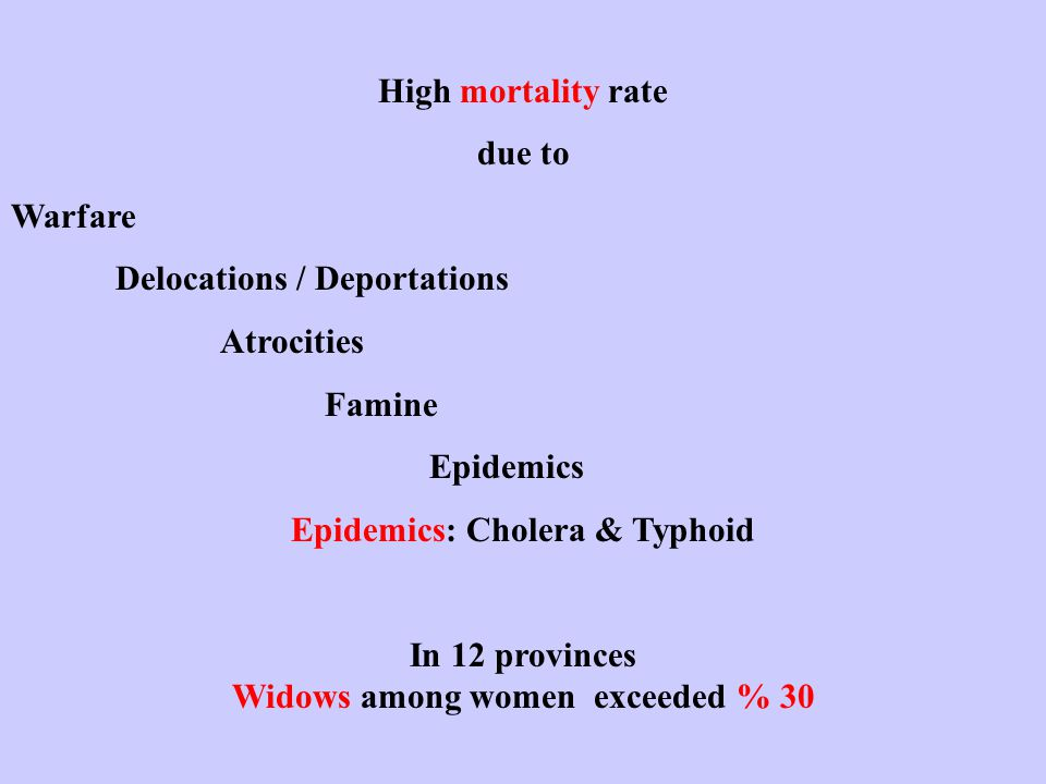 High mortality rate due to Warfare Delocations / Deportations Atrocities Famine Epidemics Epidemics: Cholera & Typhoid In 12 provinces Widows among women exceeded % 30