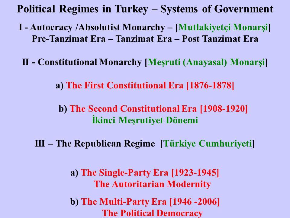 Political Regimes in Turkey – Systems of Government I - Autocracy /Absolutist Monarchy – [Mutlakiyetçi Monarşi] Pre-Tanzimat Era – Tanzimat Era – Post Tanzimat Era II - Constitutional Monarchy [Meşruti (Anayasal) Monarşi] a) The First Constitutional Era [1876-1878] b) The Second Constitutional Era [1908-1920] İkinci Meşrutiyet Dönemi III – The Republican Regime [Türkiye Cumhuriyeti] a) The Single-Party Era [1923-1945] The Autoritarian Modernity b) The Multi-Party Era [1946 -2006] The Political Democracy