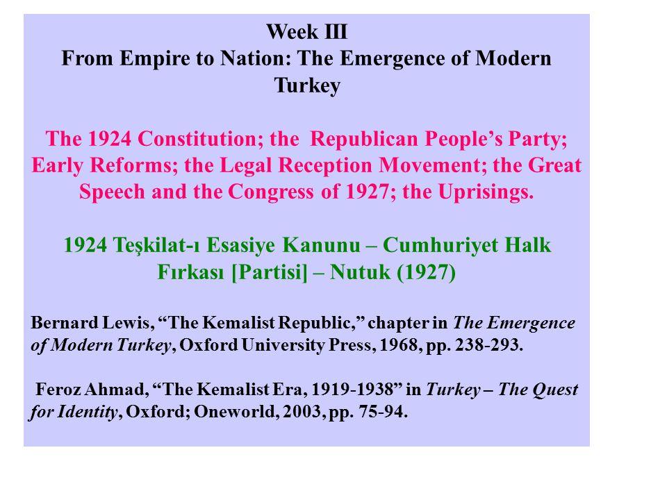 II - Constitutional Monarchy [Meşruti (Anayasal) Monarşi] a) The First Constitutional Era [1876-1878] Birinci Meşrutiyet Dönemi The First Constitution [Kanun-ı Esasi 1876] The First Parliament [Mebusan Meclisi – Ayan Meclisi 1877-78] b) The Second Constitutional Era [1908-1920] İkinci Meşrutiyet Dönemi III – The Turkish Republic [Türkiye Cumhuriyeti] a) The Single-Party Era [1923-1945] b) The Multi-Party Era [1946 -2006]