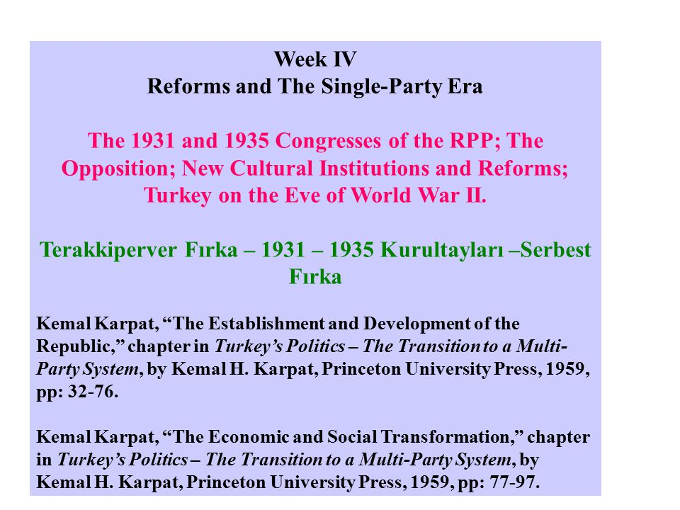A program of political, social & economic reforms A) Military Reform - Reorganization of the army Older officer corps purged B) Administrative reform - Provincial administration - decentralization (adem-i merkeziyet) C) Abolition of the capitulations 1914 - Unilateral Priviledges bestowed to foreigners The Great War - The First World War Harb-ı Umumî – Cihan Harbi – Birinci Dünya Savaşı
