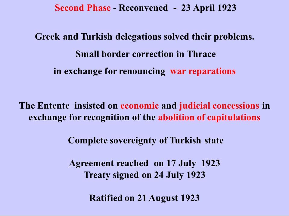 Second Phase - Reconvened - 23 April 1923 Greek and Turkish delegations solved their problems.