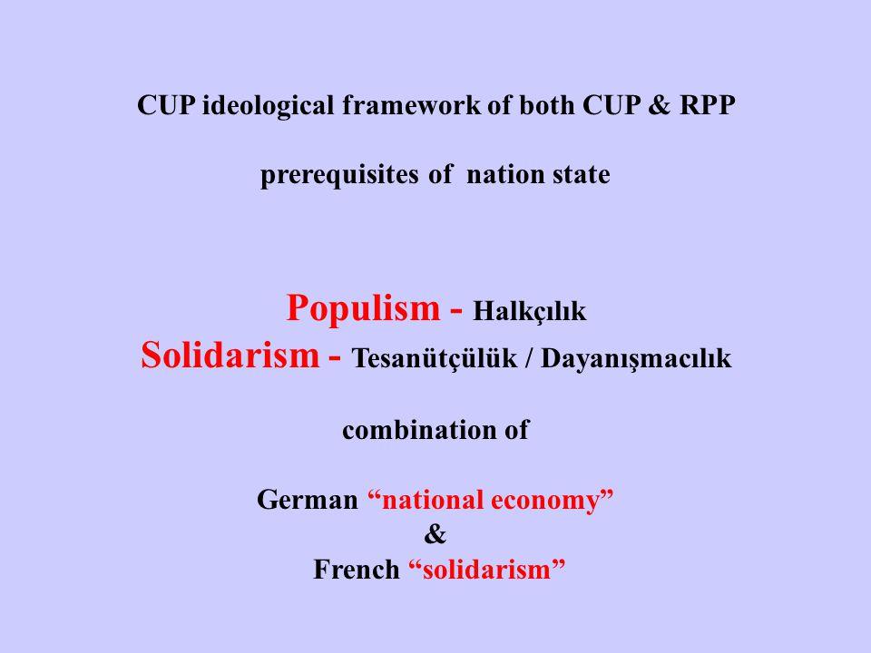 CUP ideological framework of both CUP & RPP prerequisites of nation state Populism - Halkçılık Solidarism - Tesanütçülük / Dayanışmacılık combination of German national economy & French solidarism