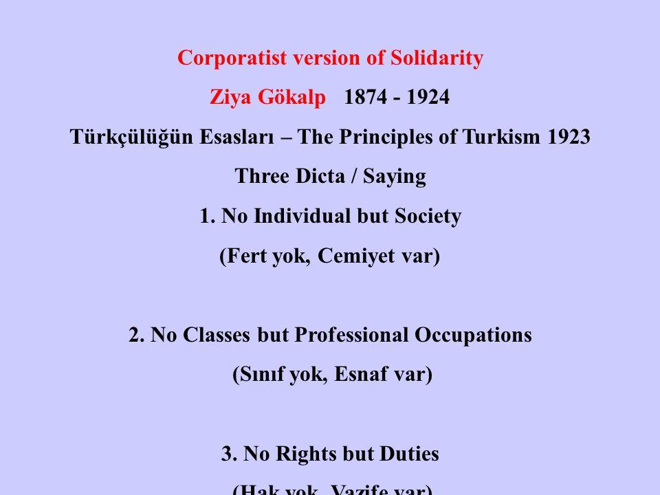 Corporatist version of Solidarity Ziya Gökalp 1874 - 1924 Türkçülüğün Esasları – The Principles of Turkism 1923 Three Dicta / Saying 1.