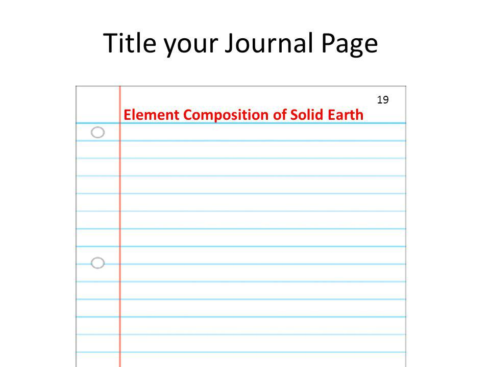Title your Journal Page Element Composition of Solid Earth 19