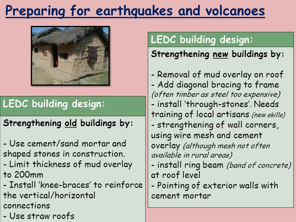 Preparing for earthquakes and volcanoes LEDC building design: Strengthening new buildings by: - Removal of mud overlay on roof - Add diagonal bracing