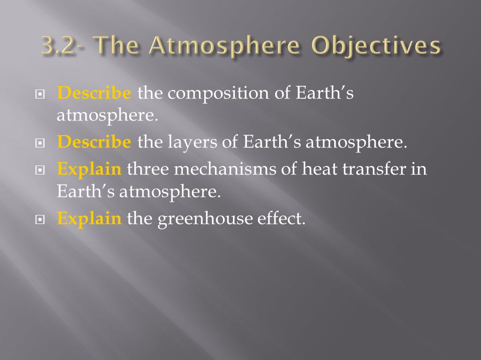  Describe the composition of Earth's atmosphere.  Describe the layers of Earth's atmosphere.  Explain three mechanisms of heat transfer in Earth's
