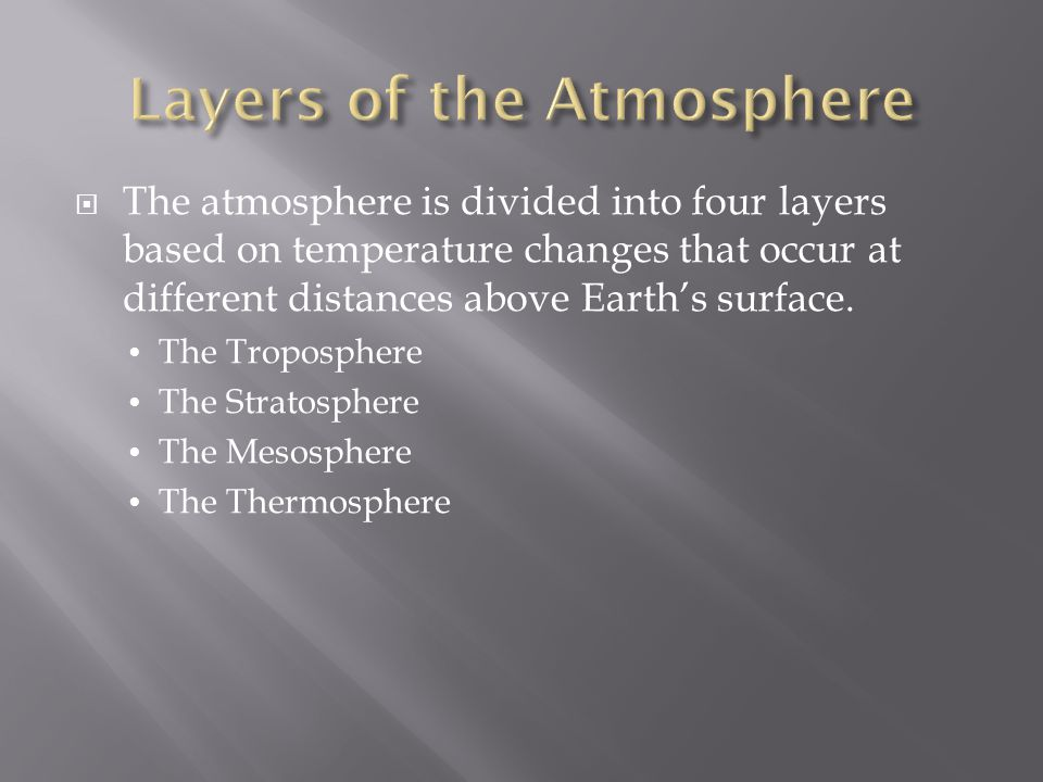  The atmosphere is divided into four layers based on temperature changes that occur at different distances above Earth's surface. The Troposphere The