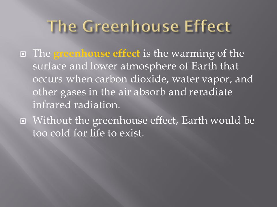  The greenhouse effect is the warming of the surface and lower atmosphere of Earth that occurs when carbon dioxide, water vapor, and other gases in t