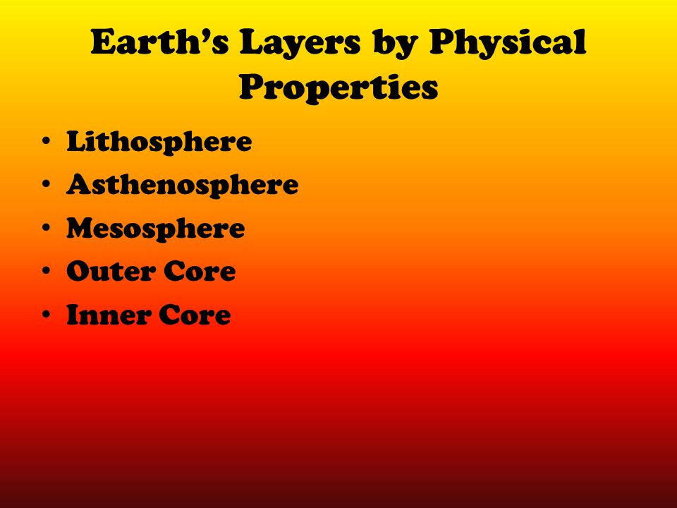 Earth's Layers by Physical Properties Lithosphere Asthenosphere Mesosphere Outer Core Inner Core