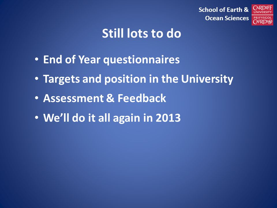 Still lots to do End of Year questionnaires Targets and position in the University Assessment & Feedback We'll do it all again in 2013 School of Earth & Ocean Sciences