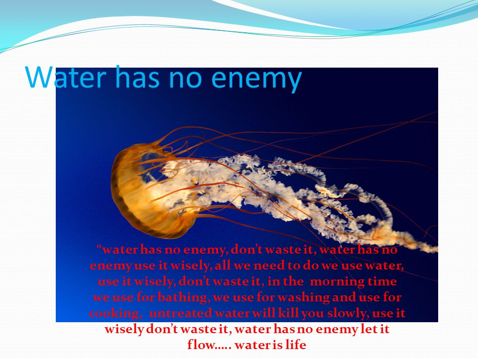 """Water has no enemy """"water has no enemy, don't waste it, water has no enemy use it wisely, all we need to do we use water, use it wisely, don't waste i"""