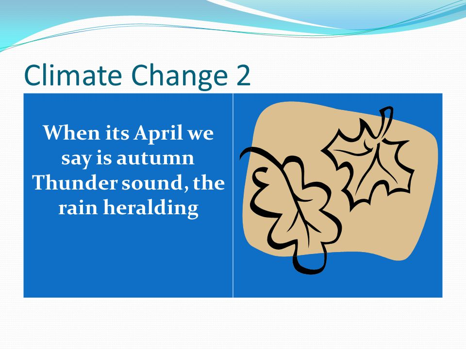 Climate Change 2 When its April we say is autumn Thunder sound, the rain heralding