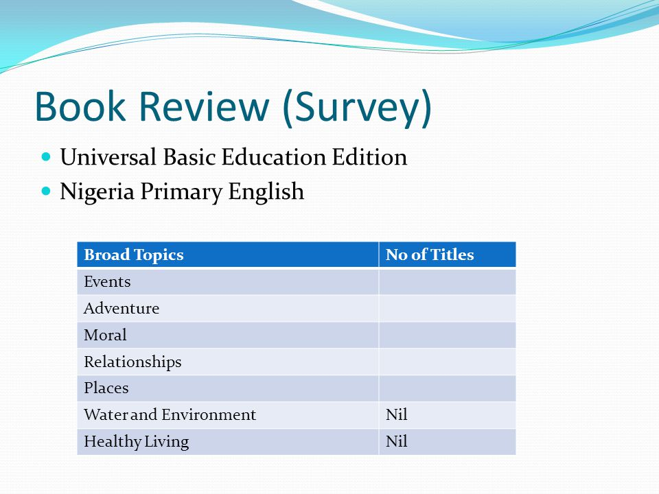 Book Review (Survey) Universal Basic Education Edition Nigeria Primary English Broad TopicsNo of Titles Events Adventure Moral Relationships Places Wa