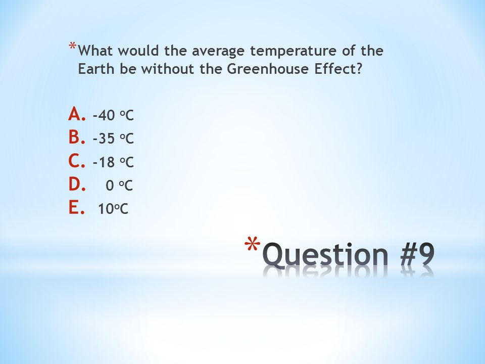 * What would the average temperature of the Earth be without the Greenhouse Effect? A. -40 o C B. -35 o C C. -18 o C D. 0 o C E. 10 o C