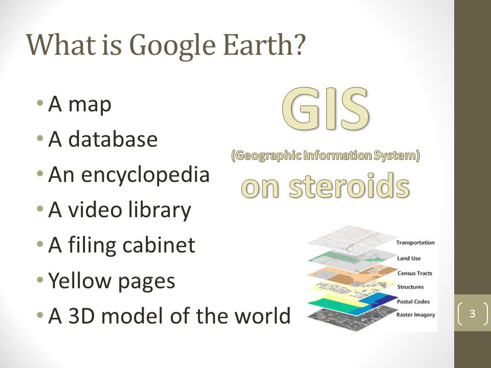 What is Google Earth? A map A database An encyclopedia A video library A filing cabinet Yellow pages A 3D model of the world 3