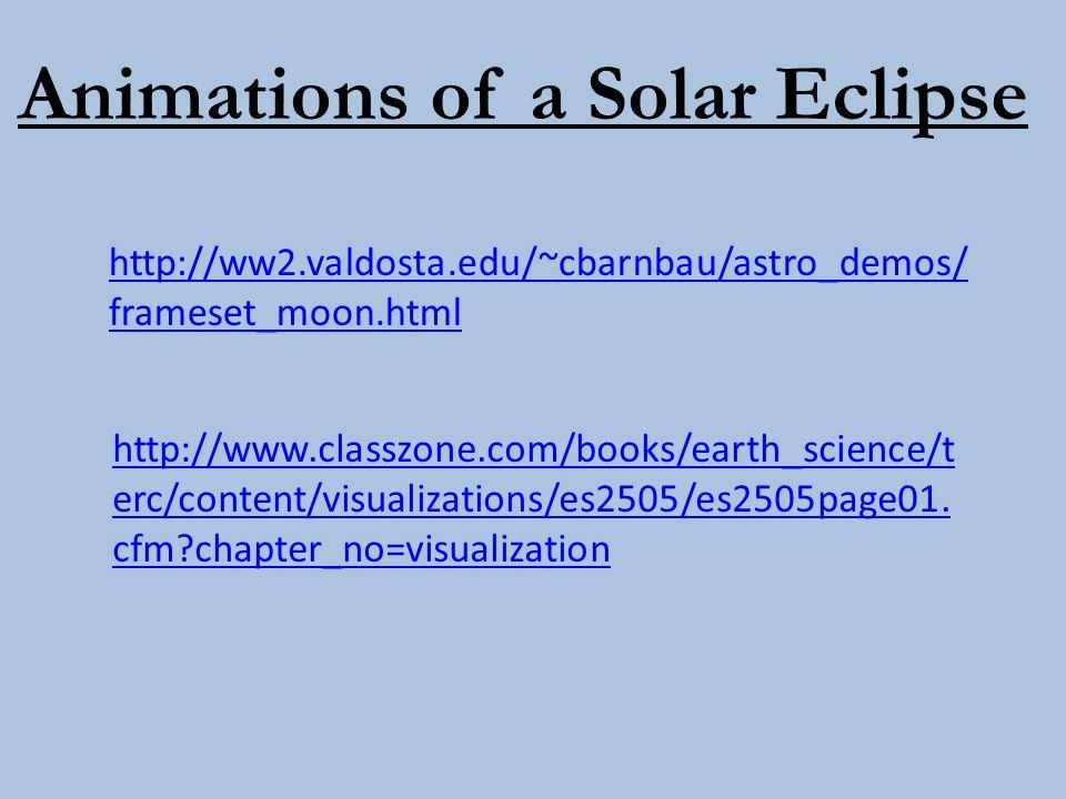 Animations of a Solar Eclipse http://ww2.valdosta.edu/~cbarnbau/astro_demos/ frameset_moon.html http://www.classzone.com/books/earth_science/t erc/con