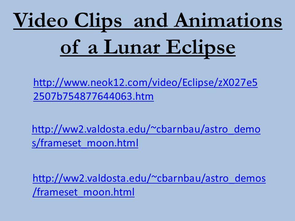 Video Clips and Animations of a Lunar Eclipse http://ww2.valdosta.edu/~cbarnbau/astro_demo s/frameset_moon.html http://ww2.valdosta.edu/~cbarnbau/astr