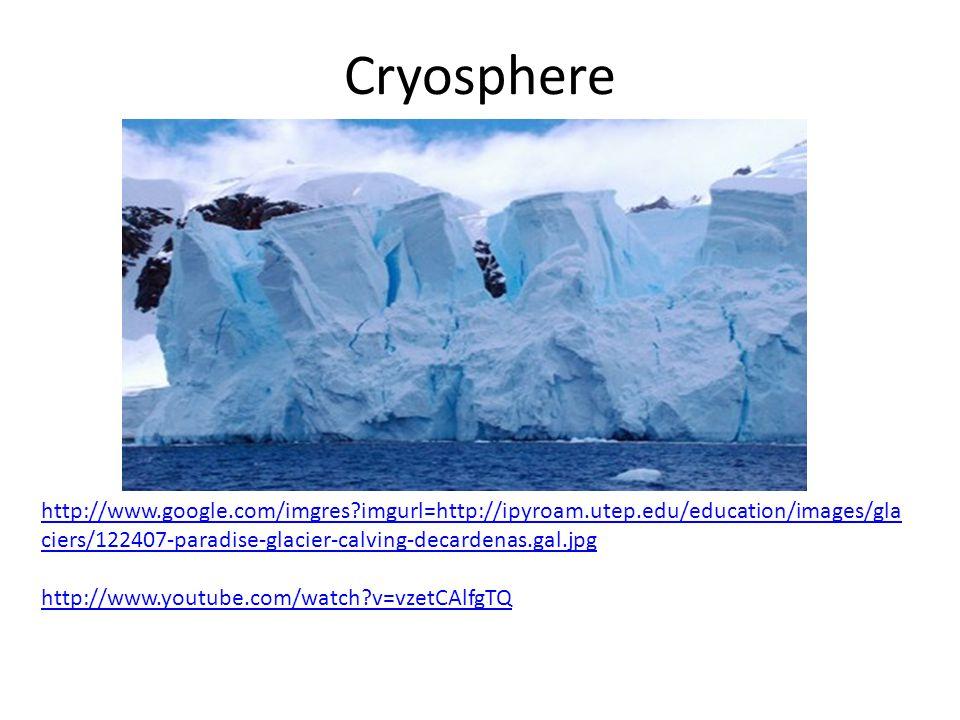 Cryosphere http://www.google.com/imgres imgurl=http://ipyroam.utep.edu/education/images/gla ciers/122407-paradise-glacier-calving-decardenas.gal.jpg http://www.youtube.com/watch v=vzetCAlfgTQ