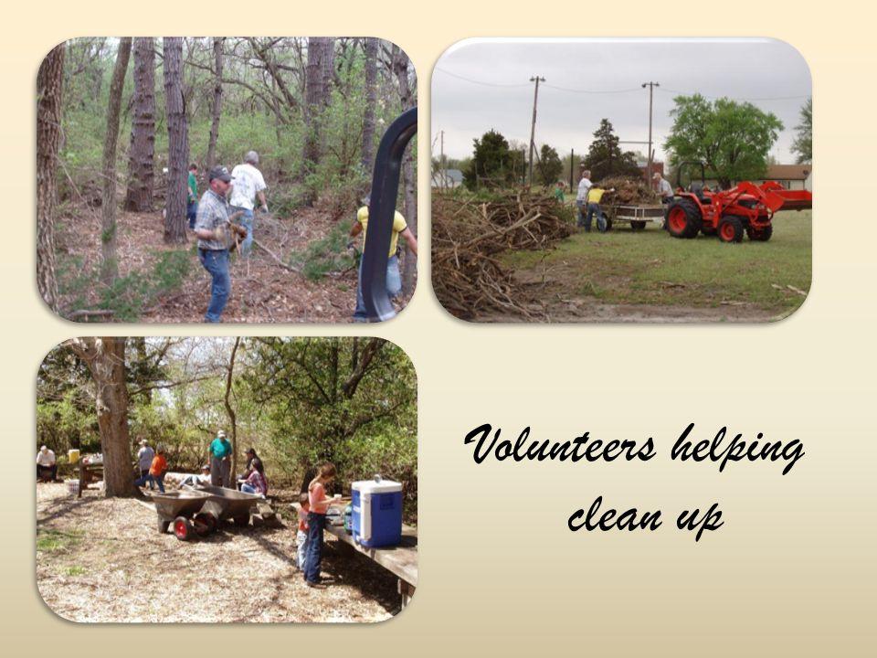 Volunteers helping clean up