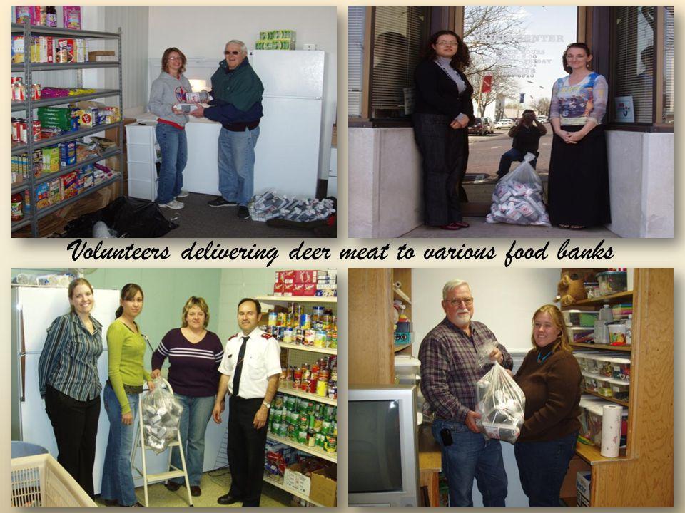 Volunteers delivering deer meat to various food banks