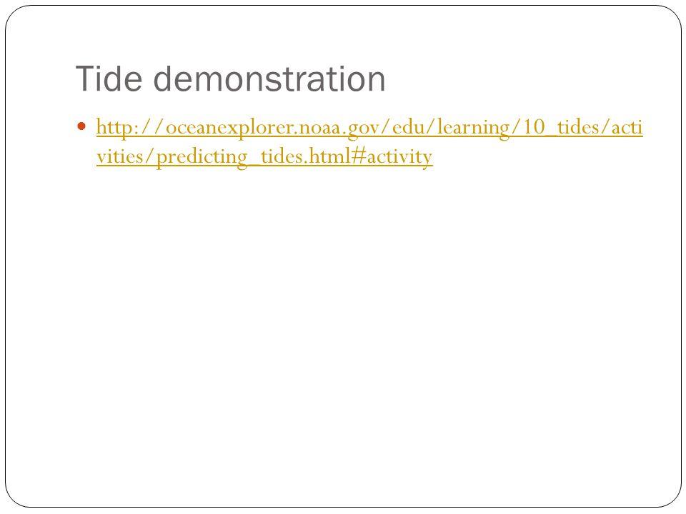 Tide demonstration http://oceanexplorer.noaa.gov/edu/learning/10_tides/acti vities/predicting_tides.html#activity http://oceanexplorer.noaa.gov/edu/learning/10_tides/acti vities/predicting_tides.html#activity