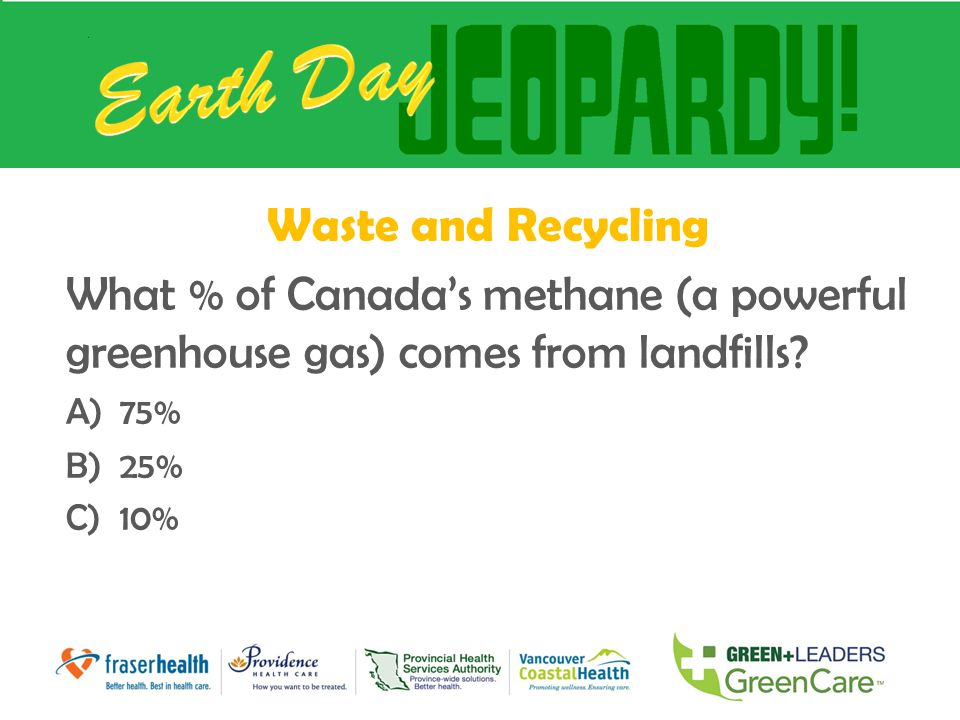 Waste and Recycling What % of Canada's methane (a powerful greenhouse gas) comes from landfills? A)75% B)25% C)10%