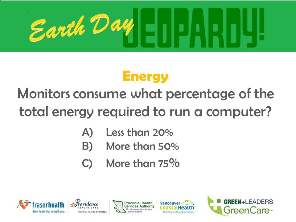 Energy Monitors consume what percentage of the total energy required to run a computer? A)Less than 20% B)More than 50% C)More than 75 %