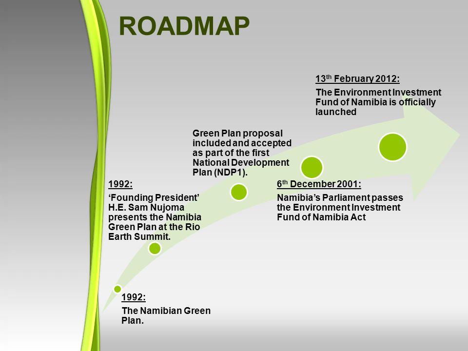 1992: The Namibian Green Plan. 1992: 'Founding President' H.E. Sam Nujoma presents the Namibia Green Plan at the Rio Earth Summit. Green Plan proposal