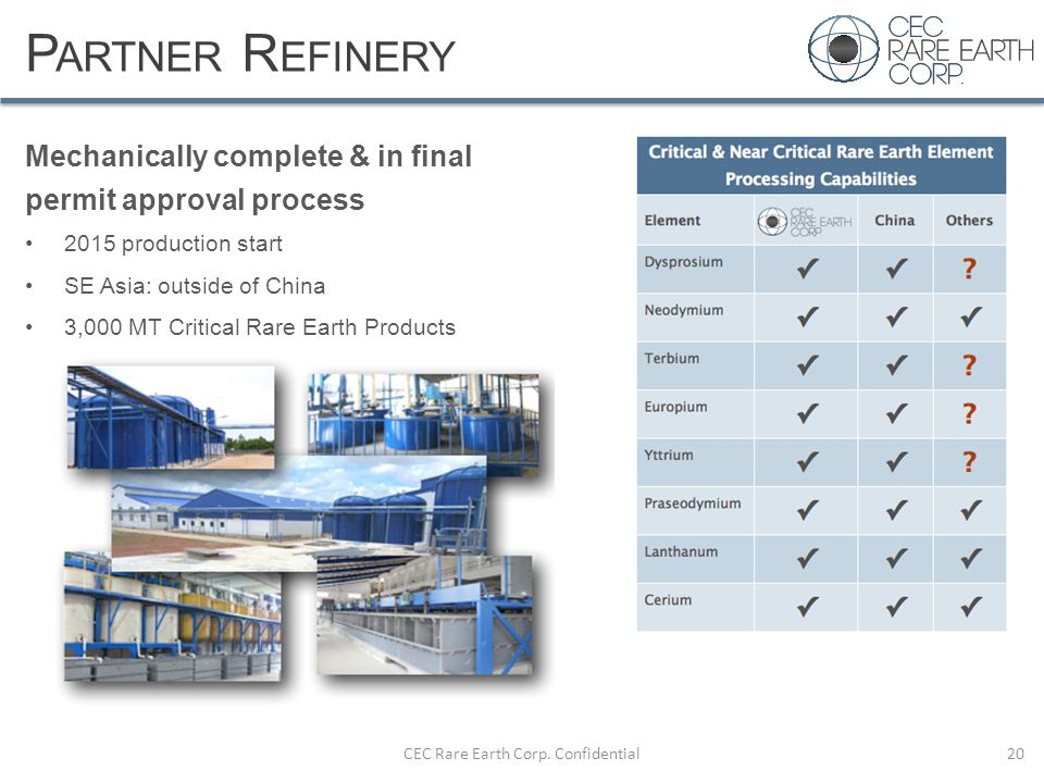 P ARTNER R EFINERY Mechanically complete & in final permit approval process 2015 production start SE Asia: outside of China 3,000 MT Critical Rare Ear