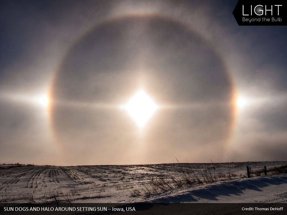 SUN DOGS AND HALO AROUND SETTING SUN – Iowa, USA Credit: Thomas DeHoff
