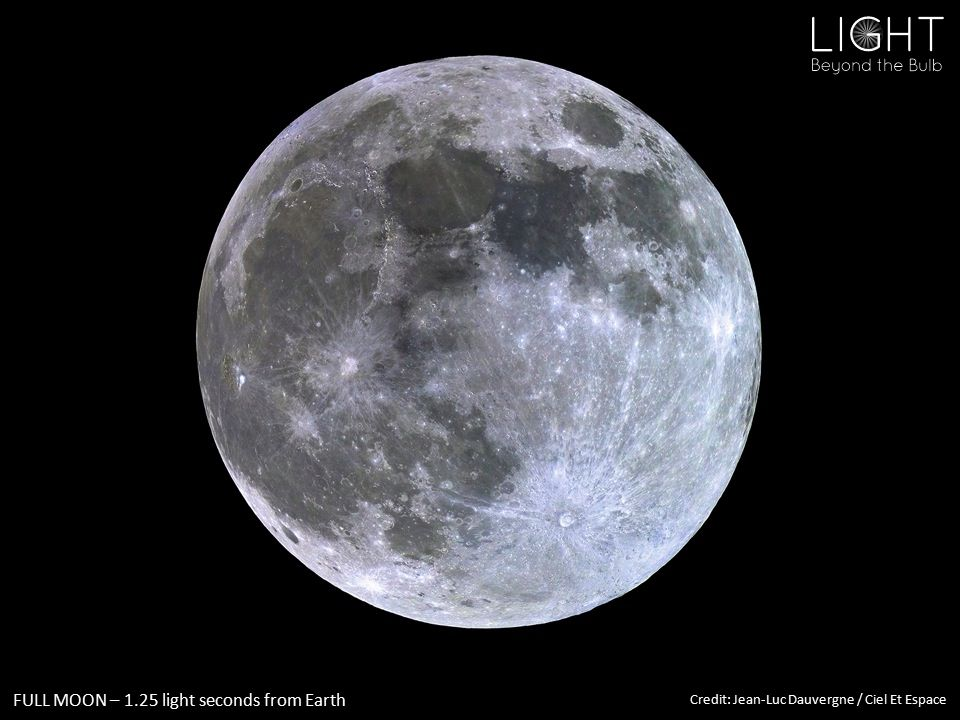 FULL MOON – 1.25 light seconds from Earth Credit: Jean-Luc Dauvergne / Ciel Et Espace