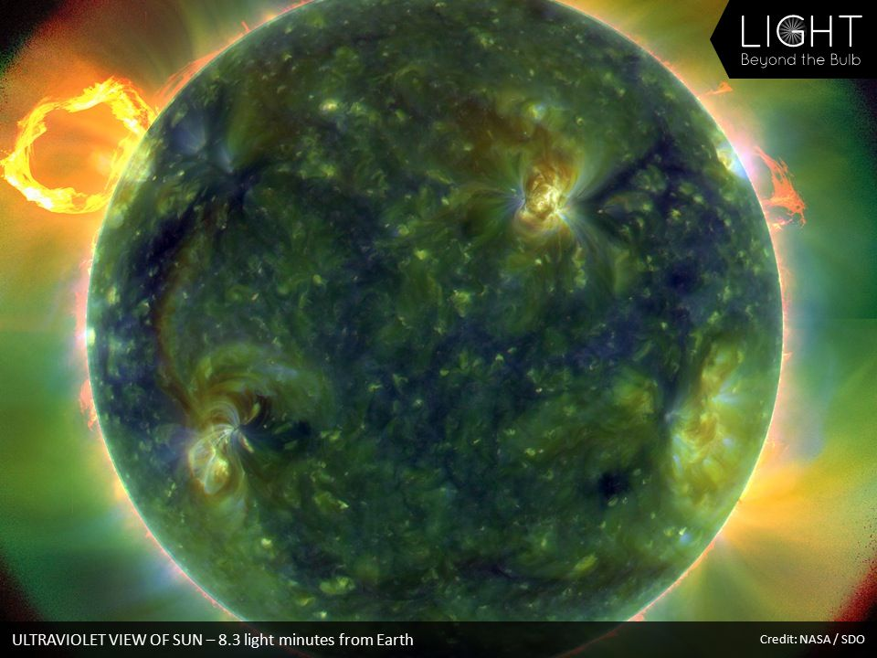 ULTRAVIOLET VIEW OF SUN – 8.3 light minutes from Earth Credit: NASA / SDO