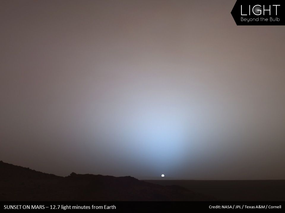 SUNSET ON MARS – 12.7 light minutes from Earth Credit: NASA / JPL / Texas A&M / Cornell