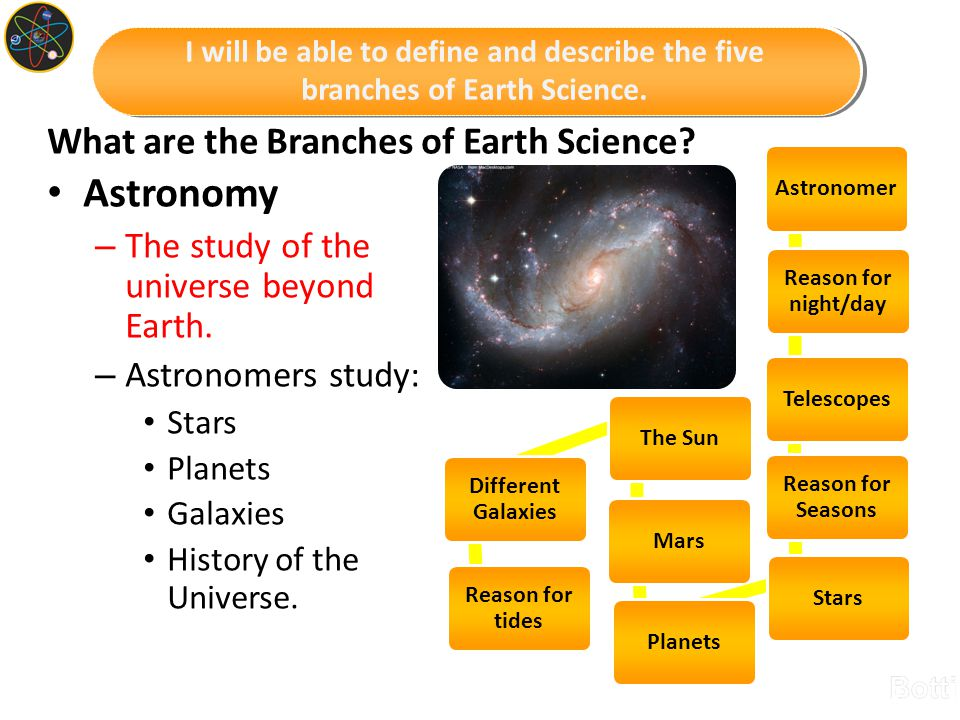 What are the Branches of Earth Science? Astronomy – The study of the universe beyond Earth. – Astronomers study: Stars Planets Galaxies History of the