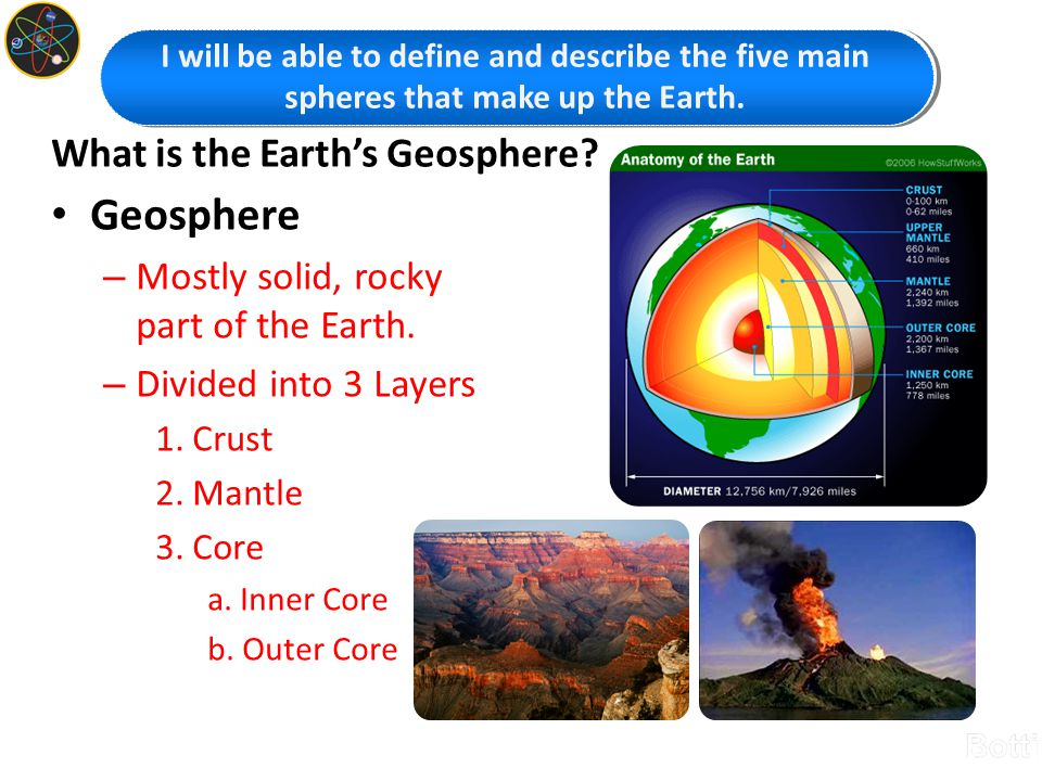 What is the Earth's Geosphere? Geosphere – Mostly solid, rocky part of the Earth. – Divided into 3 Layers 1. Crust 2. Mantle 3. Core a. Inner Core b.