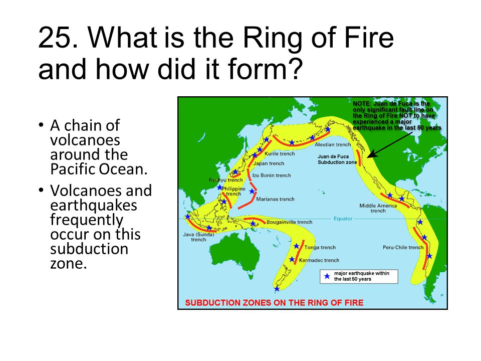 25. What is the Ring of Fire and how did it form? A chain of volcanoes around the Pacific Ocean. Volcanoes and earthquakes frequently occur on this su