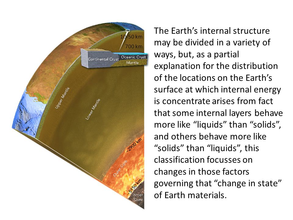 10-50 km 700 km The Earth's internal structure may be divided in a variety of ways, but, as a partial explanation for the distribution of the location