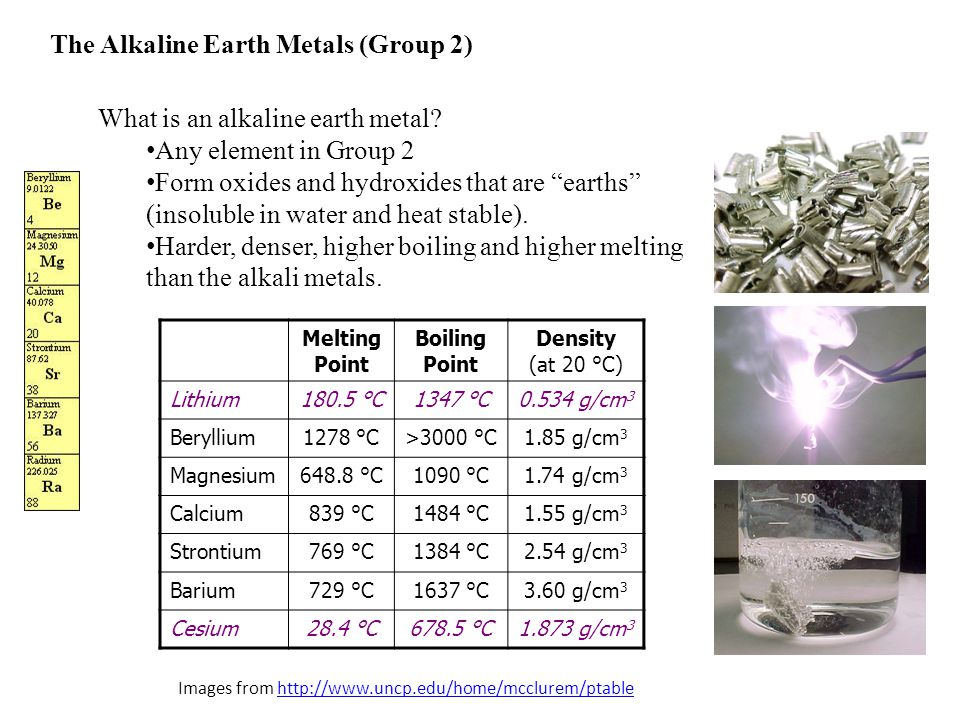 "The Alkaline Earth Metals (Group 2) What is an alkaline earth metal? Any element in Group 2 Form oxides and hydroxides that are ""earths"" (insoluble in"