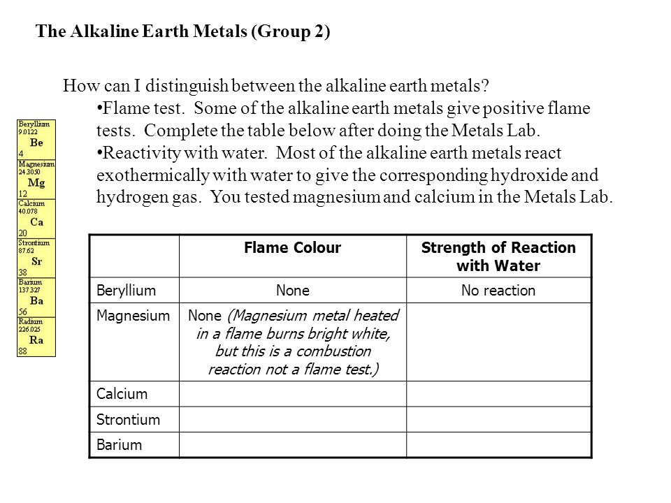 How can I distinguish between the alkaline earth metals? Flame test. Some of the alkaline earth metals give positive flame tests. Complete the table b