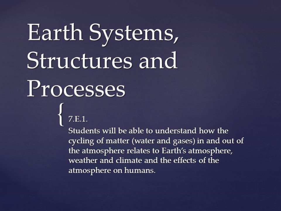 { Earth Systems, Structures and Processes 7.E.1.
