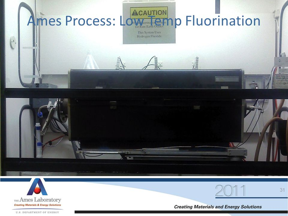 31 Ames Process: Low Temp Fluorination