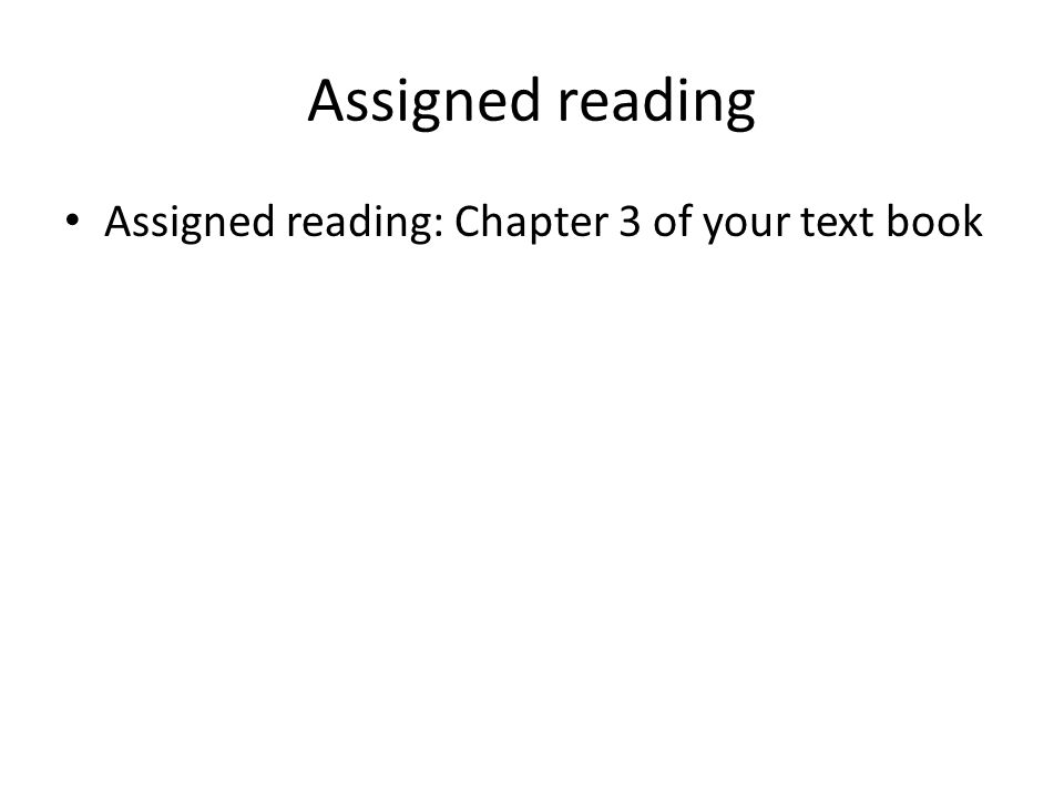 Assigned reading Assigned reading: Chapter 3 of your text book