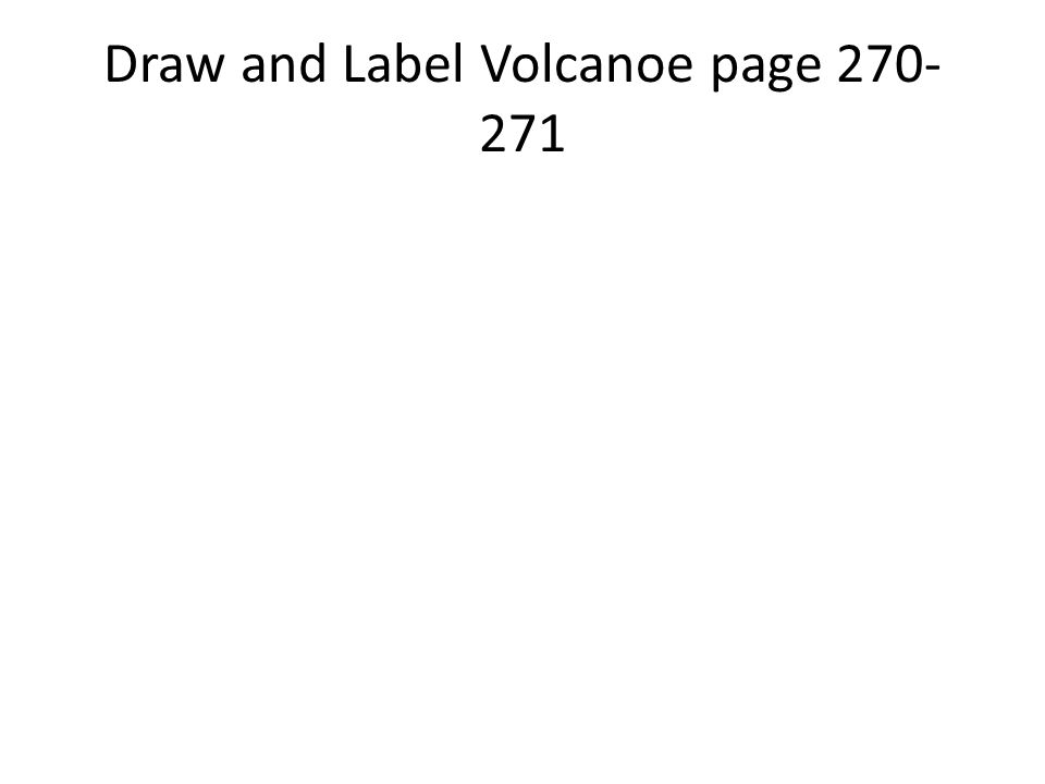 Draw and Label Volcanoe page 270- 271