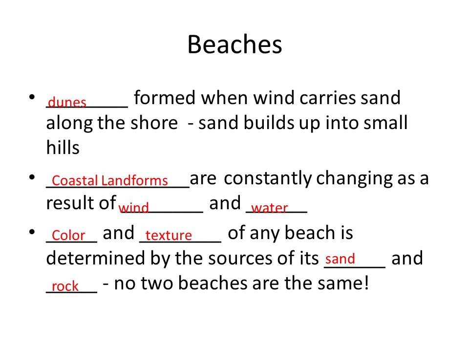 Beaches ________ formed when wind carries sand along the shore - sand builds up into small hills ______________are constantly changing as a result of