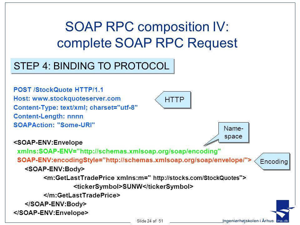 Ingeniørhøjskolen i Århus Slide 24 af 51 SOAP RPC composition IV: complete SOAP RPC Request POST /StockQuote HTTP/1.1 Host: www.stockquoteserver.com Content-Type: text/xml; charset= utf-8 Content-Length: nnnn SOAPAction: Some-URI <SOAP-ENV:Envelope xmlns:SOAP-ENV= http://schemas.xmlsoap.org/soap/encoding SOAP-ENV:encodingStyle= http://schemas.xmlsoap.org/soap/envelope/ > SUNW HTTP Encoding Name- space STEP 4: BINDING TO PROTOCOL